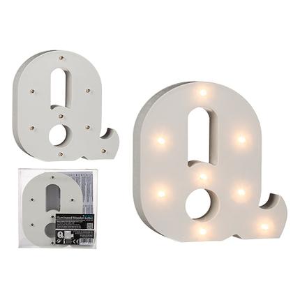 57-6090 Beleuchteter Holz-Buchstabe Q, mit 8 LED, ca. 16 cm, für 2 Micro Batterien (AAA)