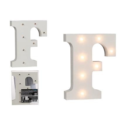 57-6079 Beleuchteter Holz-Buchstabe F, mit 7 LED, ca. 16 cm, für 2 Micro Batterien (AAA)