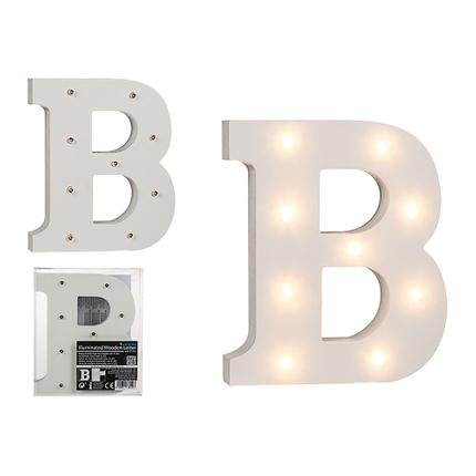 57-6075 Beleuchteter Holz-Buchstabe B, mit 9 LED, ca. 16 cm, für 2 Micro Batterien (AAA)