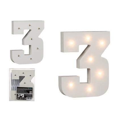 57-6103 Beleuchteter Holz-Ziffer 3, mit 7 LED, ca. 16 cm, für 2 Micro Batterien (AAA)