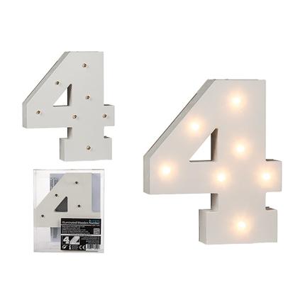 57-6104 Beleuchteter Holz-Ziffer 4, mit 7 LED, ca. 16 cm, für 2 Micro Batterien (AAA)