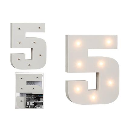 57-6105 Beleuchteter Holz-Ziffer 5, mit 7 LED, ca. 16 cm, für 2 Micro Batterien (AAA)