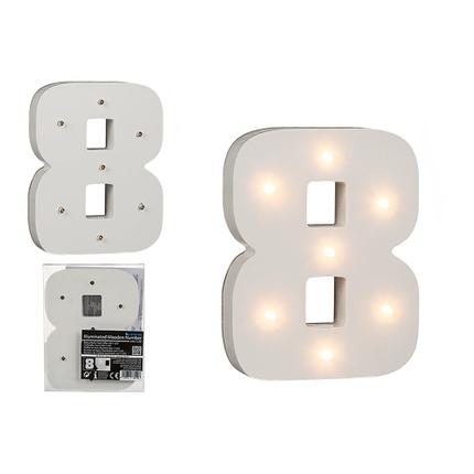 57-6108 Beleuchteter Holz-Ziffer 8, mit 7 LED, ca. 16 cm, für 2 Micro Batterien (AAA)