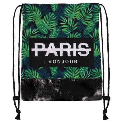 RU-z284 Gymbag, Gymsac  Pflanzen  Paris Bonjour   grün schwarz weiss