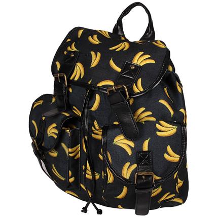 RUCK-b015 Hochwertiger Rucksack Bananen schwarz