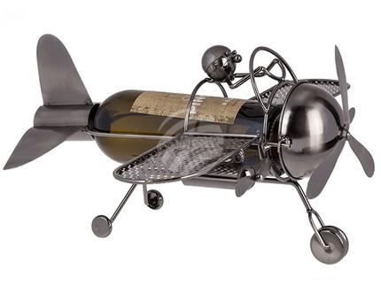 71-3143 Metall-Flaschenhalter, Pilot mit Flugzeug, ca. 18  x 33 cm