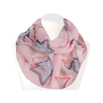 SCH-1350d Damen Loop Schal Sterne taubenblau rosa