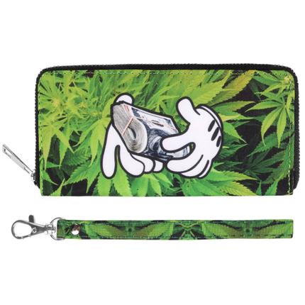 BT-178 Motiv Geldbörsen Portemonnaies Weed Hanf Cannabis & Hände mit Geld grün