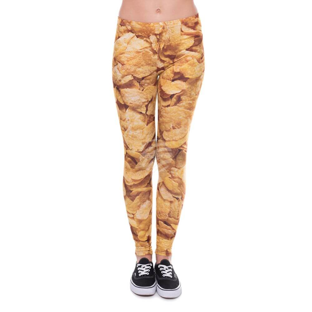 LEG-104 Damen Motiv Leggings Design: Cerealien Farbe: gelb