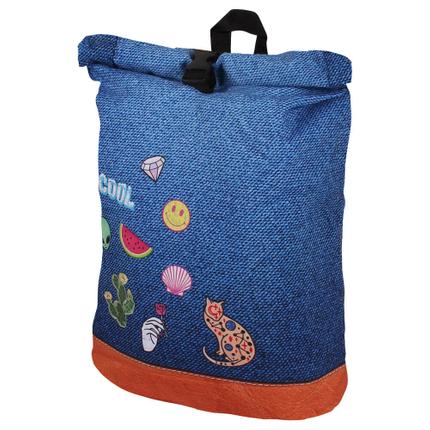 RUCK-c011 Rucksack mit Rollverschluß Icons blau, multicolor