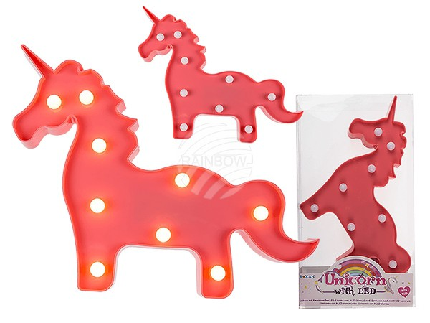220347 Pinkfarbenes Kunststoff-Einhorn mit 9 warmweißen LED, ca. 30 x 24 cm, für 2 Mignon Batterien (AA) in PVC-Box