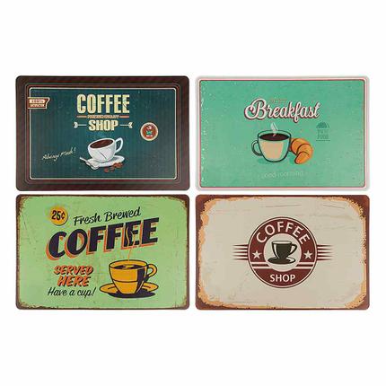 145235 Polypropylen-Tischset, Coffee, ca. 44 x 29 cm, 4-fach sortiert, 12 Stück im Polybeutel, 9360/PAL