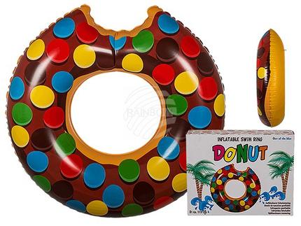 91-4174 Aufblasbarer Schwimmring, Brauner Donut, D: ca. 119 cm, 504/PAL