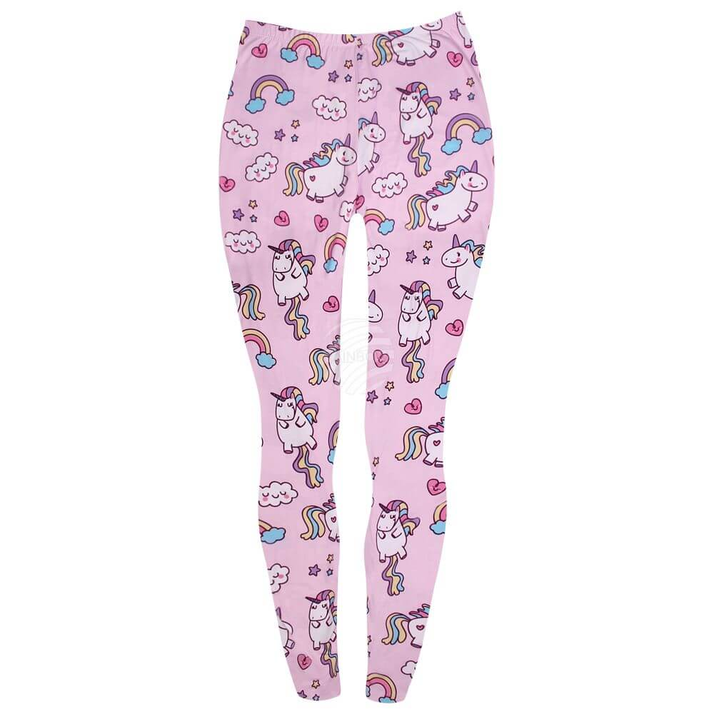 LEG-126 Damen Motiv Leggings Einhorn multicolor
