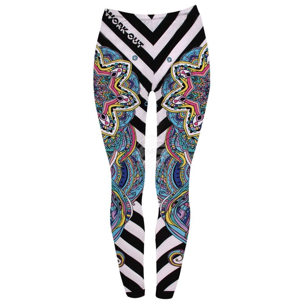 LEG-129 Damen Motiv Leggings Streifen, Mandala multicolor
