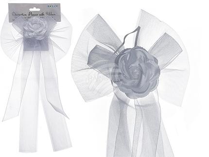 719166 Deko-Blume mit Schleifenband, 100% Polyester, ca. 40 x 21 cm, im Polybeutel mit Headercard, 1728/PAL