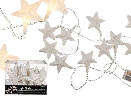 960275 Lichterkette, Große Sterne, mit 10 warmweißen LED, ca. 7 cm, L: ca.1,60 m, für 2 Mignon Batterien (AA) in PVC-Box, nur für den Innenbereich geeignet, 720/PAL