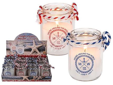 144157 Kerze im Glas, Maritim, mit Textilband,  ca. 6,5 x 9 cm2-fach sortiert, 12 Stück im Display