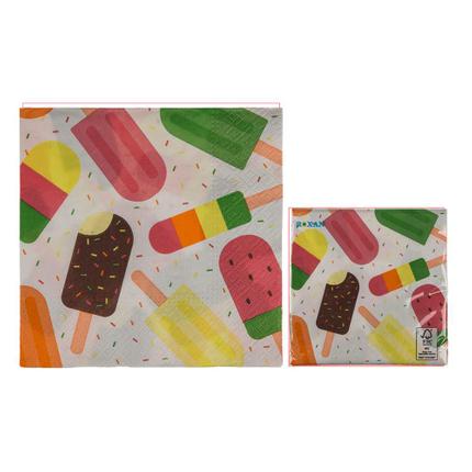 145256 Papier-Servietten, Eis, ca. 33 x 33 cm, 3-lagig, 20 Stück im Polybeutel, 672/PAL