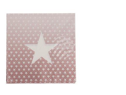 145261 Rosa Papier-Servietten, Sterne, ca. 33 x 33 cm, 3-lagig, 20 Stück im Polybeutel, 840/PAL