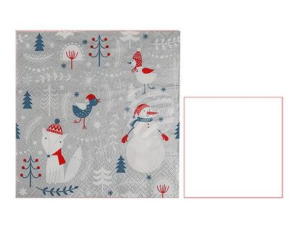 938221 Papier-Servietten, Winter, ca. 33 x 33 cm, 3-lagig, 20 Stück im Polybeutel