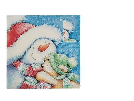 938225 Papier-Servietten, Schneemann mit Teddybär, ca. 33 x 33 cm, 3-lagig, 20 Stück im Polybeutel