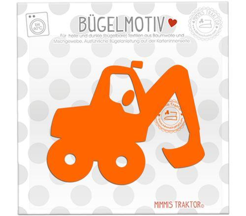 Mimmis Traktor® Bügelbild Bagger 11 cm x 9 cm ORANGE