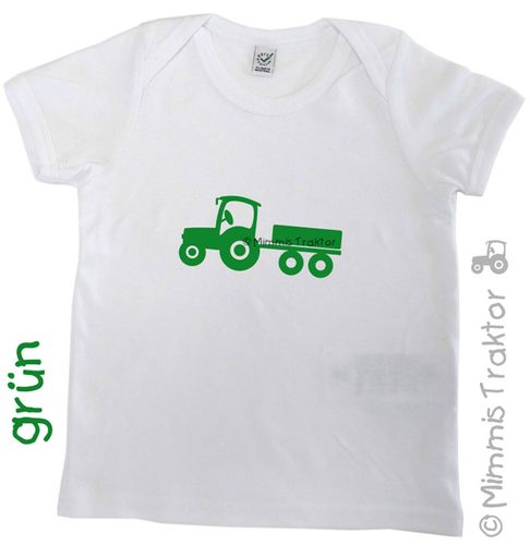 Mimmis Traktor® Bügelbild Traktor mit Anhänger 12,5 x 5,5 cm GRÜN – Bild 2