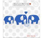 Mimmis Traktor® Bügelbild 3 Elefanten mit Herz 5 bis 4 cm BLAU 001
