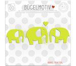 Mimmis Traktor® Bügelbild 3 Elefanten mit Herz 5 bis 4 cm LIME 001