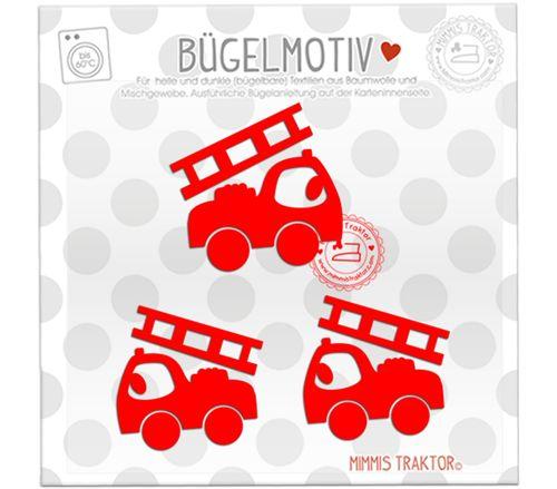 Mimmis Traktor® Bügelbild 3 Feuerwehrautos 6 und 5,5 cm ROT – Bild 1