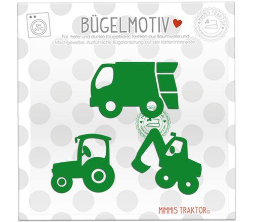 Mimmis Traktor® Bügelbild 3 Lieblingsfahrzeuge 6 bis 4,3 cm GRÜN – Bild 1