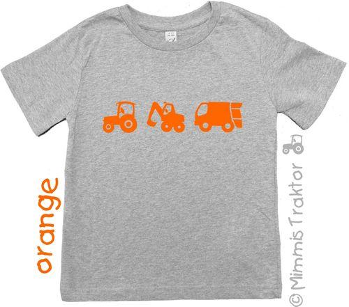 Mimmis Traktor® Bügelbild 3 Lieblingsfahrzeuge 6 bis 4,3 cm ORANGE – Bild 2