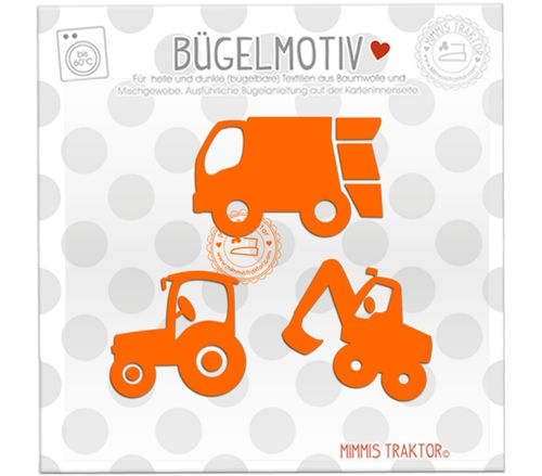 Mimmis Traktor® Bügelbild 3 Lieblingsfahrzeuge 6 bis 4,3 cm ORANGE – Bild 1