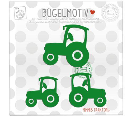 Mimmis Traktor® Bügelbild 3 Traktoren 6 cm bis 4,3 cm GRÜN – Bild 1