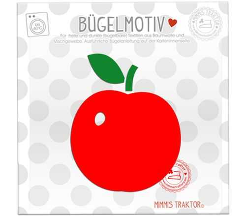 Mimmis Traktor® Bügelbild Apfel 7,7 cm x 9,5 cm ROT – Bild 1