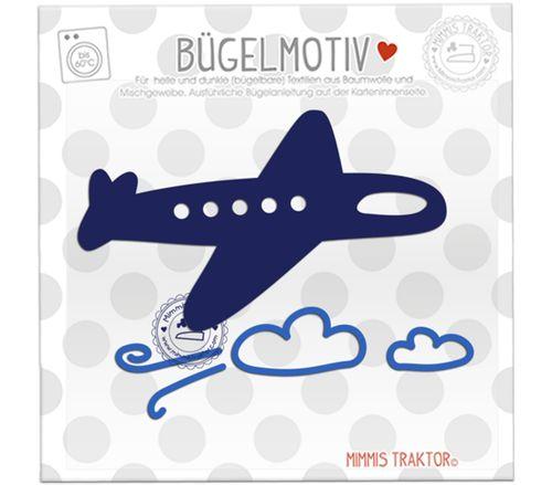Mimmis Traktor® Bügelbild Flugzeug + Wolken 11,5 cm x 7 cm MARINE BLAU – Bild 1