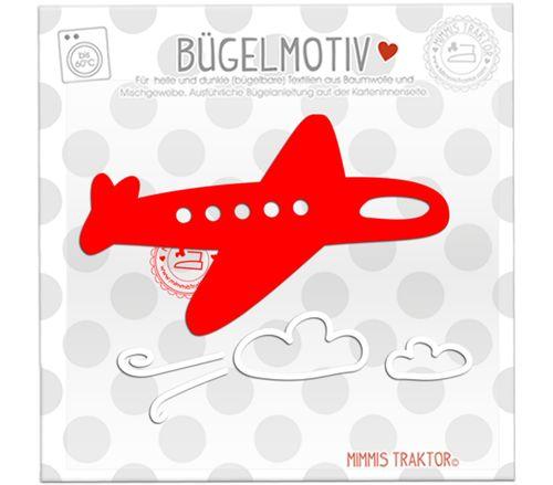 Mimmis Traktor® Bügelbild Flugzeug + Wolken 11,5 cm x 7 cm ROT WEISS – Bild 1