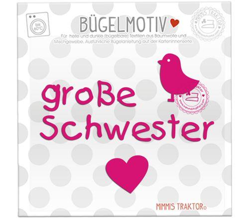 Mimmis Traktor® Bügelbild große Schwester + Vogel PINK – Bild 1