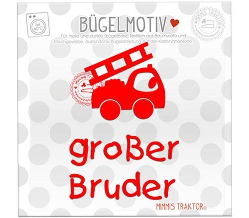 Mimmis Traktor® Bügelbild großer Bruder mit Feuerwehrauto ROT