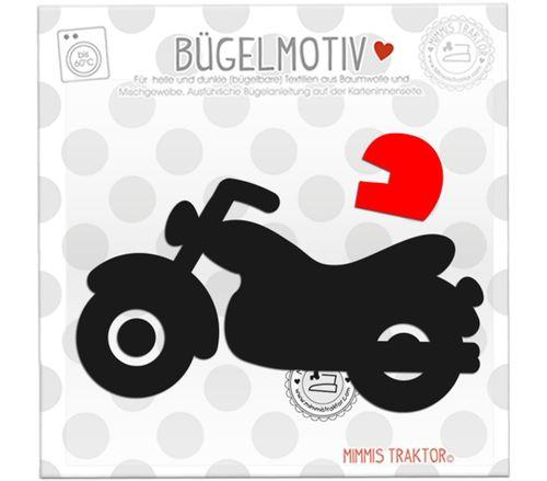 Mimmis Traktor® Bügelbild Motorrad 12,8 cm x 7,3 cm SCHWARZ – Bild 1