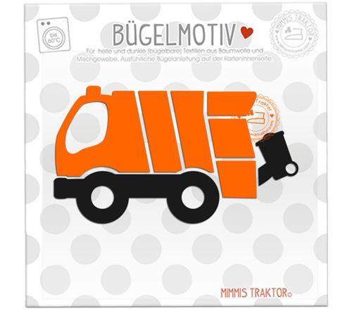 Mimmis Traktor® Bügelbild Müllauto 12 cm x 6,5 cm ORANGE SCHWARZ – Bild 1