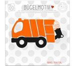 Mimmis Traktor® Bügelbild Müllauto 12 cm x 6,5 cm ORANGE SCHWARZ 001