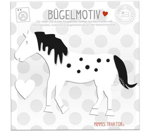 Mimmis Traktor® Bügelbild Pferd mit Punkten 14 cm x 10 cm WEISS SCHWARZ – Bild 1