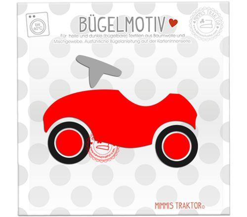 Mimmis Traktor® Bügelbild Rutschauto 10,8 cm x 7,8 cm ROT SCHWARZ GRAU