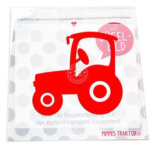 Mimmis Traktor® Bügelbild Traktor 10 x 9 cm ROT – Bild 1