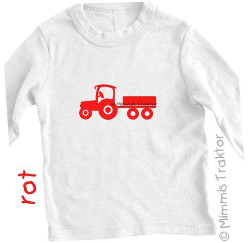Mimmis Traktor® Bügelbild Traktor mit Anhänger 12,5 x 5,5 cm ROT – Bild 2