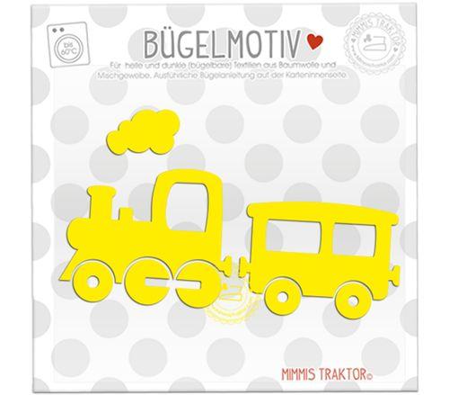 Mimmis Traktor® Bügelbild Zug Lokomotive 13 x 7,5 cm GELB – Bild 1