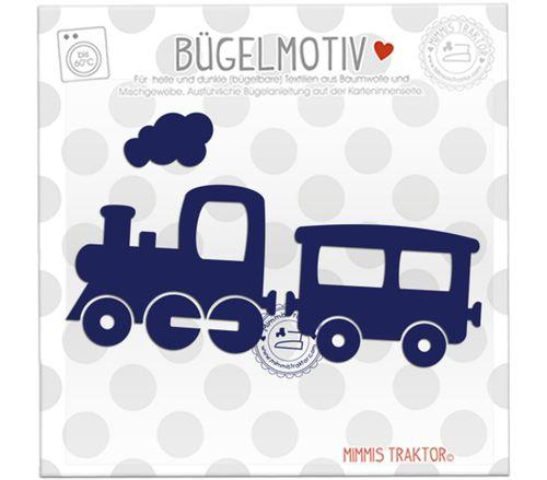 Mimmis Traktor® Bügelbild Zug Lokomotive 13 x 7,5 cm MARINE – Bild 1