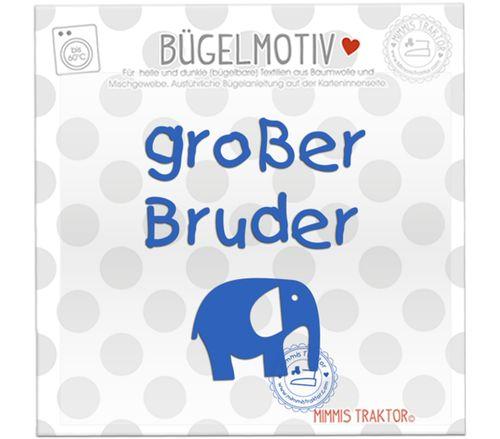 Mimmis Traktor® Bügelbild großer Bruder mit Elefant BLAU